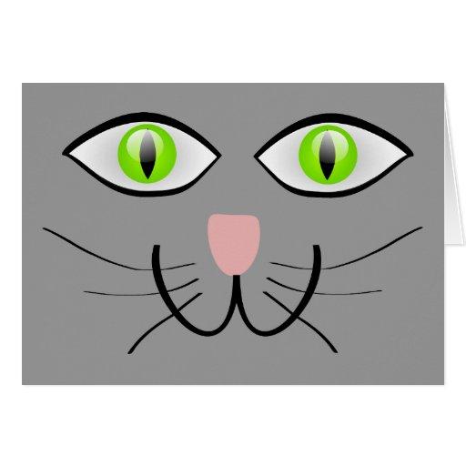 Little Gray Kitten Cat Face Greeting Card