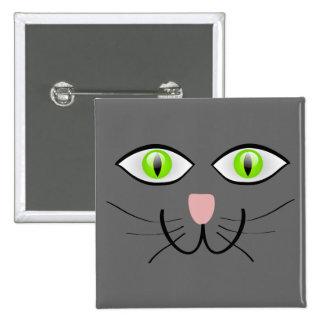 Little Gray Kitten Cat Face Pinback Button