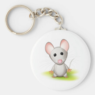 Little gray mouse basic round button keychain