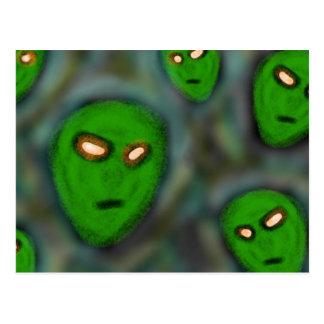 little green alien ghosts postcard