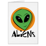 Little Green Alien Greeting Cards
