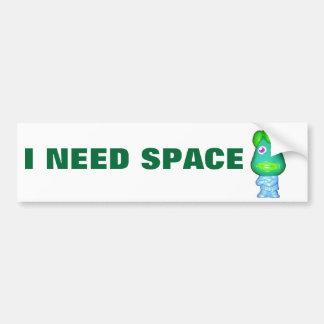 Little Green Alien Needs Space Bumper Sticker
