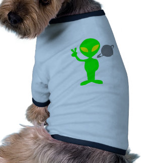 Little Green Alien Next to the Planet Saturn Dog Clothing