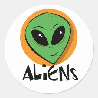 Little Green Alien Round Stickers
