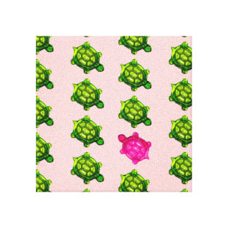 Little Green and Pink Turtle Pattern Stretched Canvas Prints
