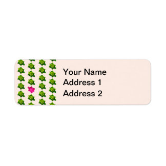 Little Green and Pink Turtle Pattern Return Address Label