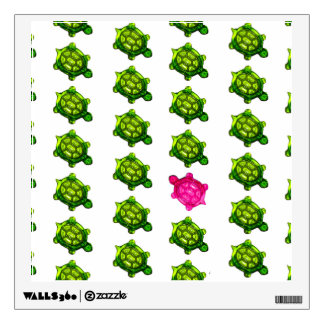 Little Green and Pink Turtle Pattern Wall Sticker