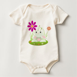 Little Green Baby Bunny With Flowers Baby Creeper