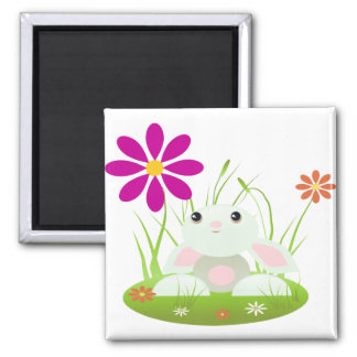 Little Green Baby Bunny With Flowers 2 Inch Square Magnet