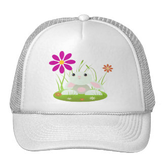 Little Green Baby Bunny With Flowers Trucker Hat