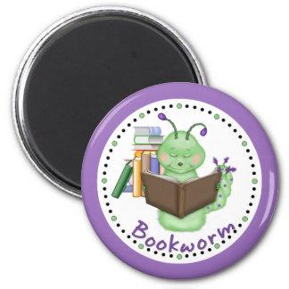 Little Green Bookworm 2 Inch Round Magnet
