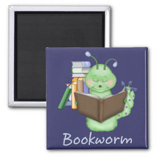 Little Green Bookworm 2 Inch Square Magnet