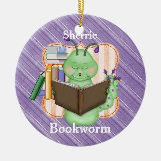 Little Green Bookworm Ceramic Ornament