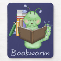 Little Green Bookworm Mouse Pad