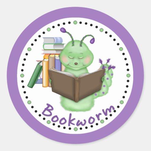Little Green Bookworm Round Sticker