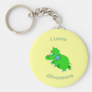 little green dino (i loce dinosaurs) keychain