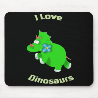little green dino (i loce dinosaurs) mouse pad