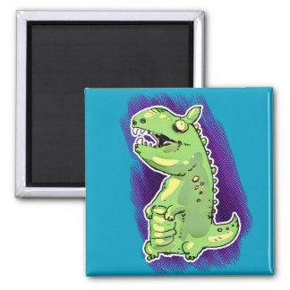 little green dinosaur cartoon magnet