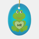 Little green frog. Customize initials on the heart Double-Sided Oval Ceramic Christmas Ornament