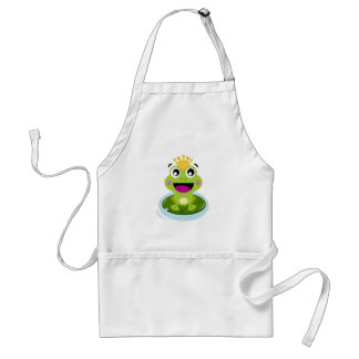 Little green frog happy adult apron