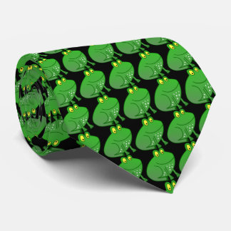 Little green Frog Prince with black background Neck Tie