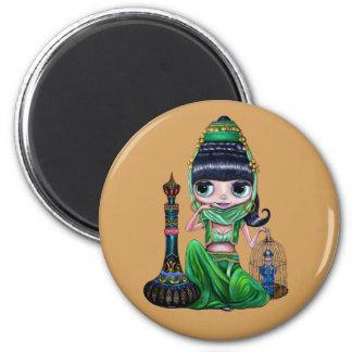 Little Green Genie Belly Dancer Girl 2 Inch Round Magnet