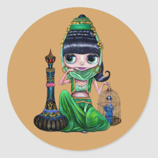 Little Green Genie Belly Dancer Girl Classic Round Sticker