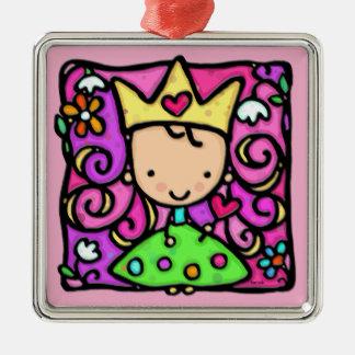 Little green goddess princes polka dots curls christmas ornament
