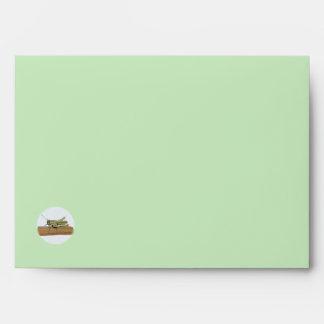 Little Green Grasshopper Cartoon Letter Envelope