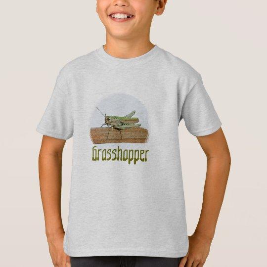 Little Green Grasshopper Cartoon T-Shirt
