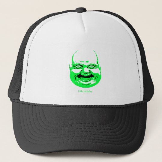 little green laughing-buddha trucker hat