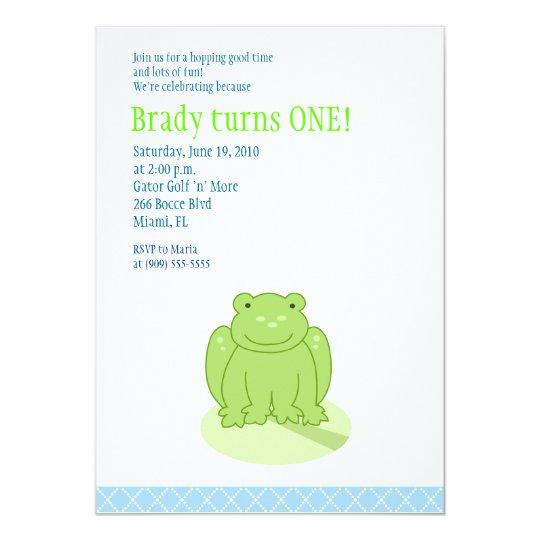 Little Green Leap Frog 5x7 Birthday Invitation