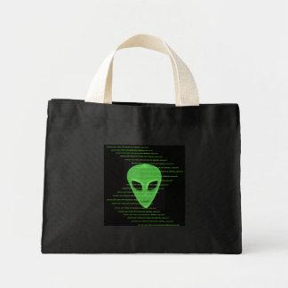 Little Green Man Alien Face & Alien Text Tote Bag