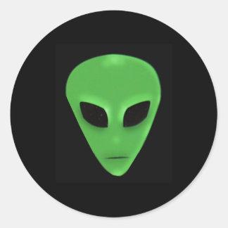 Little Green Man Alien Face Classic Round Sticker
