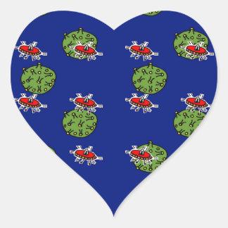 little green men and little green planets heart sticker