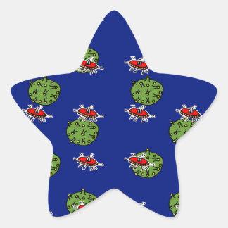 little green men and little green planets star sticker