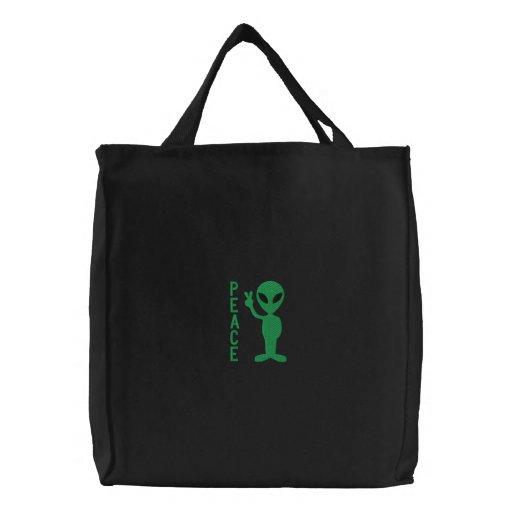 Little Green Men Embroidered Bag