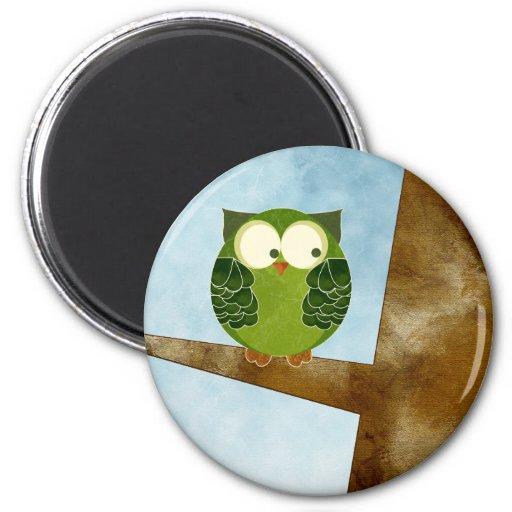 Little Green Owl Refrigerator Magnet