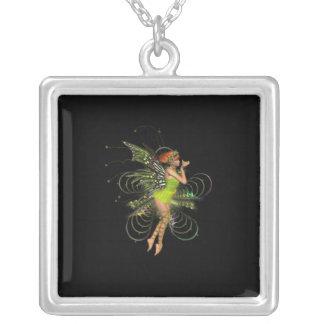 Little Green Pixie Square Pendant Necklace