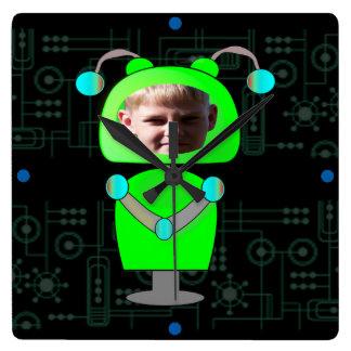 Little Green Robot Photo Face Template Square Wallclocks