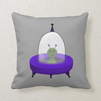 Little Green Space Alien in Flying Saucer Throw Pillow
