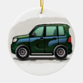 Little Green SUV Four Wheel Double-Sided Ceramic Round Christmas Ornament