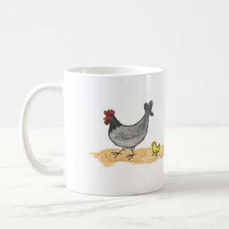 Little Grey Hen and Chick Coffee Mug