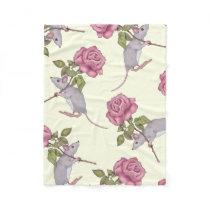 Little Grey Mouse Carrying Big Pink Rose Fleece Blanket