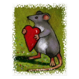 Little Grey Mouse Holding Red Heart: Oil Pastel Postcard