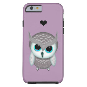 Little Grumpy Horned Owl Illustration Tough iPhone 6 Case