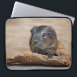 """Little Guinea Pig Painting Laptop Sleeve<br><div class=""""desc"""">Little guinea pig painting features a cute brown guinea pig on a piece of wood. Even though the guinea pig is considered a rodent,  it&#39;s a very adorable one.</div>"""