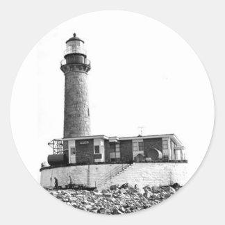 Little Gull Island Lighthouse Classic Round Sticker