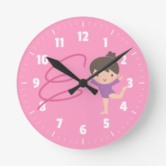 Little Gymnast Girl Gymnastics Room Decor Round Clock