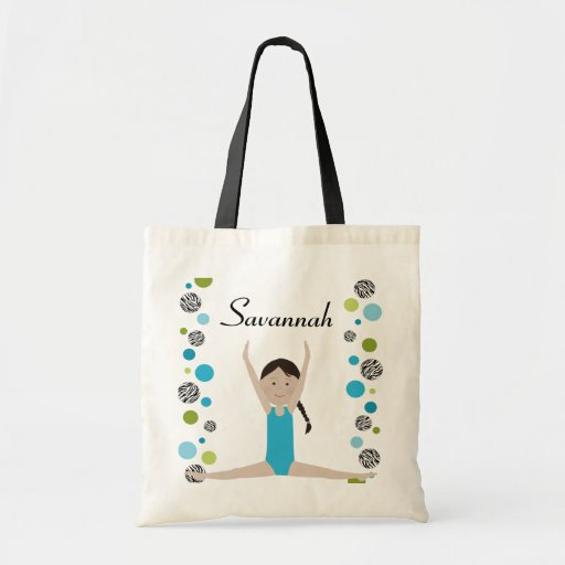 Little Gymnast in Aqua and Green Canvas Bags